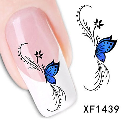 3D Butterfly Nail Stickers Art Water Transfer Decals Tips Decoration