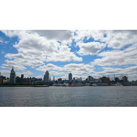 Canvas Print Clouds In New York City Ships Riverside City Dock Stretched Canvas 10 x 14