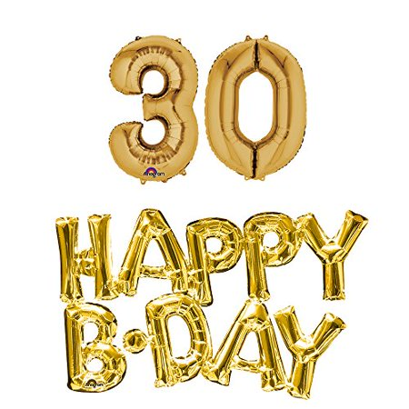 30th birthday party balloons supplies and decorations in Gold](30th Party Balloons)