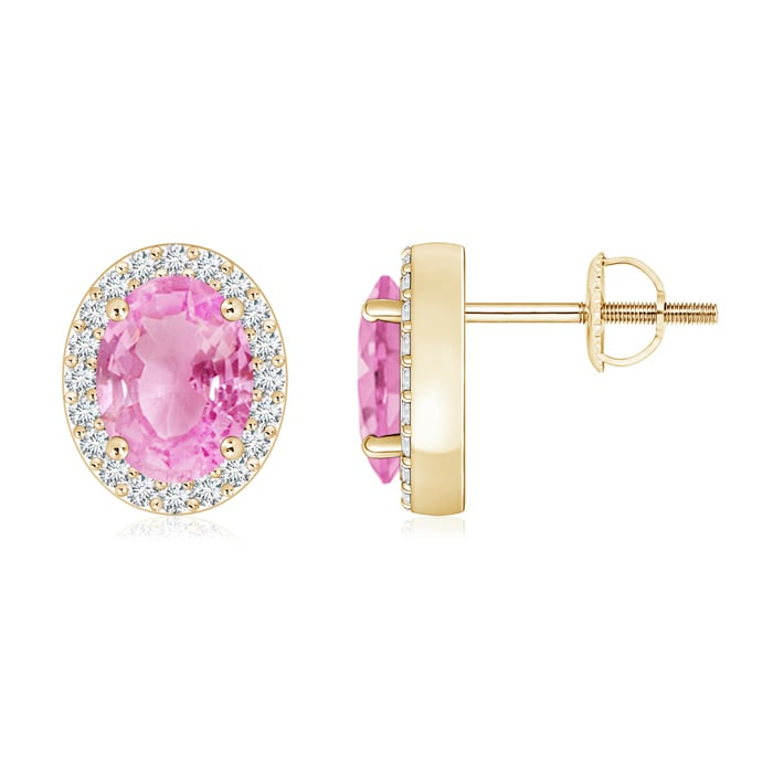 Angara Oval Pink Sapphire Flower Stud Earrings in 14K Yellow Gold yH31e