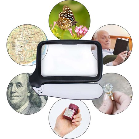 Reactionnx Magnifying Glass with Light, Folding Handle, 5 Bright LED Magnifier, 2X Rectangular Handheld Reading Magnifying Glass for Seniors, Low Vision, Macular Degeneration,