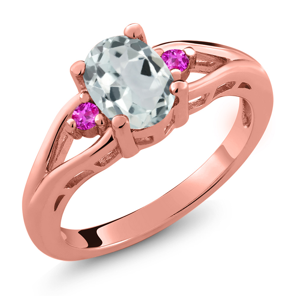 1.20 Ct Oval Sky Blue Aquamarine Pink Sapphire 14K Rose Gold Ring by