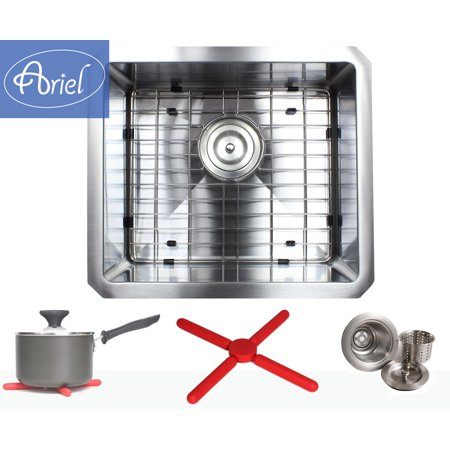 Ariel 17 Inch 16 Gauge Undermount Single Bowl Stainless Steel Sink Package 15mm Radius Design