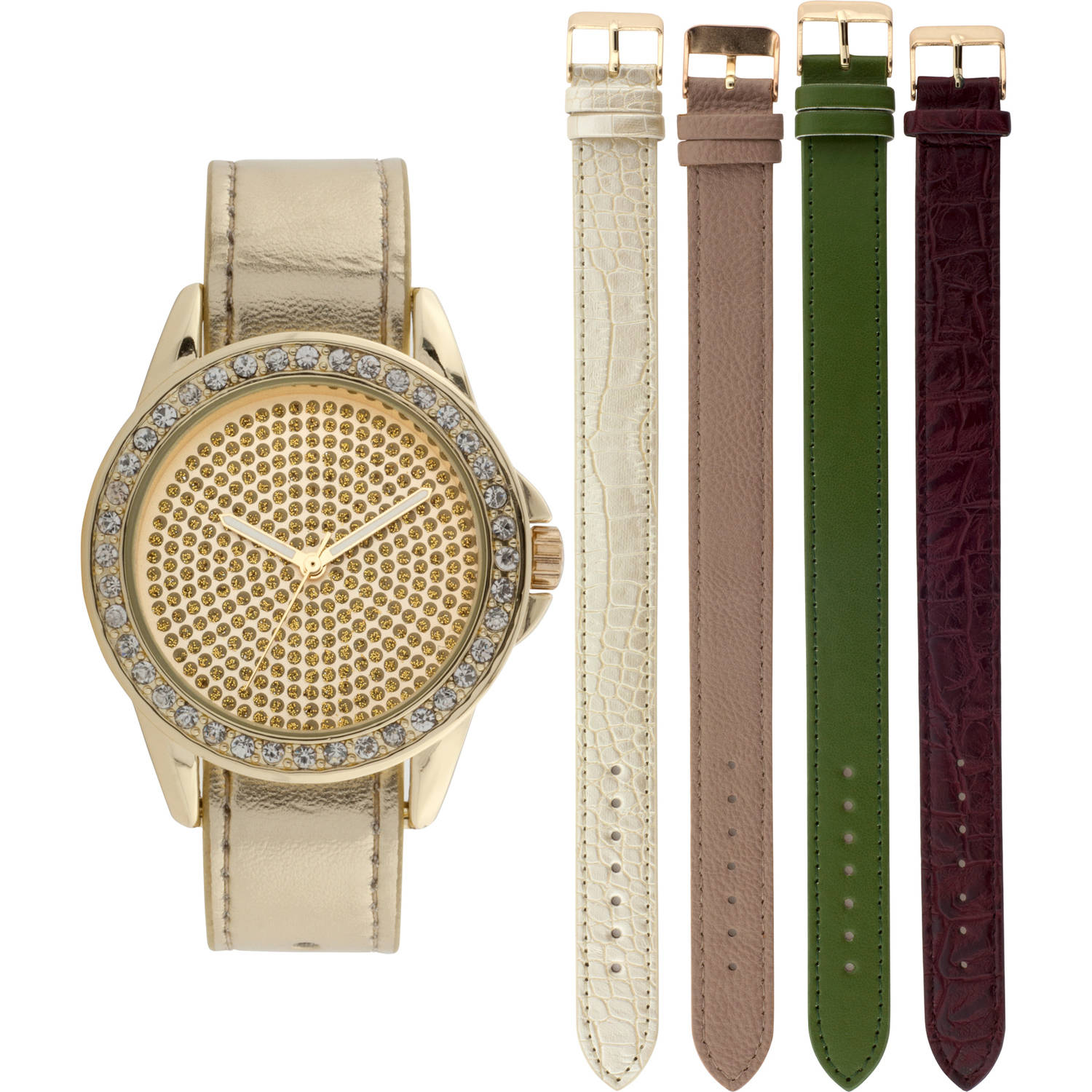 Women's Crystal Accented Bezel Round Gold Stone Case Watch Set, 5 Various Color Interchangeable Straps