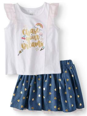 Wonder Nation Tank Top & Reversible Skirt, 2pc Outfit Set (Toddler Girls)