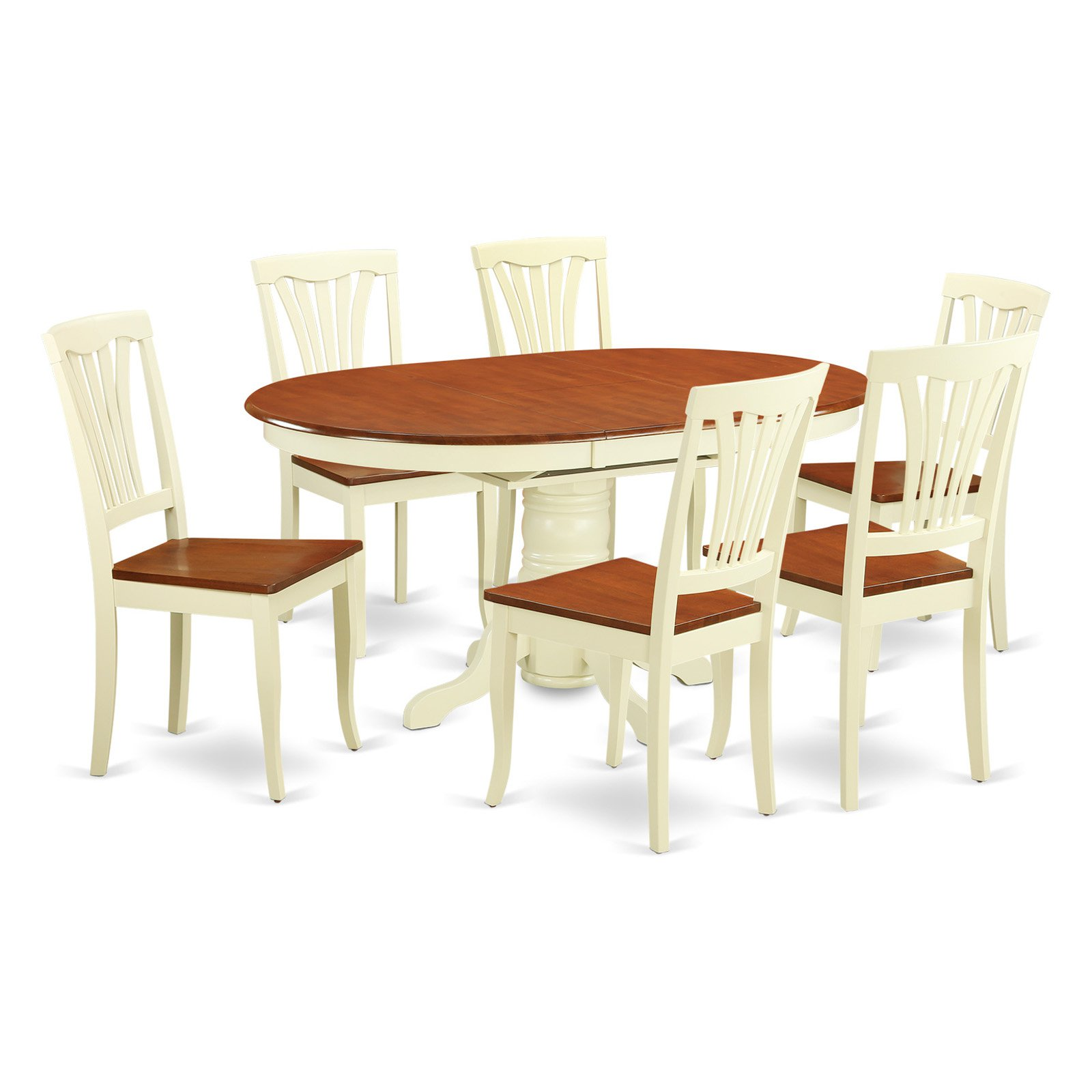 East West Furniture Avon 7 Piece Lath Back Dining Table Set