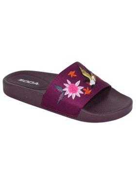 8d05fa1bebca Product Image bella Women Slides Embroidery Soda Shoes Flip Flops Flat  Sandals Cute Print Vino Burgundy Purple