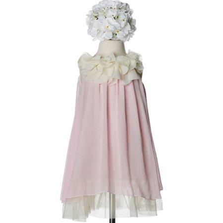 Fairy Flower Dress (Efavormart Chic Chiffon Flower Girl Dress With Ivory Flower Neckline Birthday Girl Dress Junior Flower Girl Wedding Party)