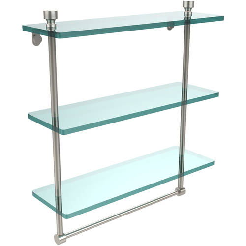 "Foxtrot Collection 16"" Triple Tiered Glass Shelf with Integrated Towel Bar (Build to Order)"