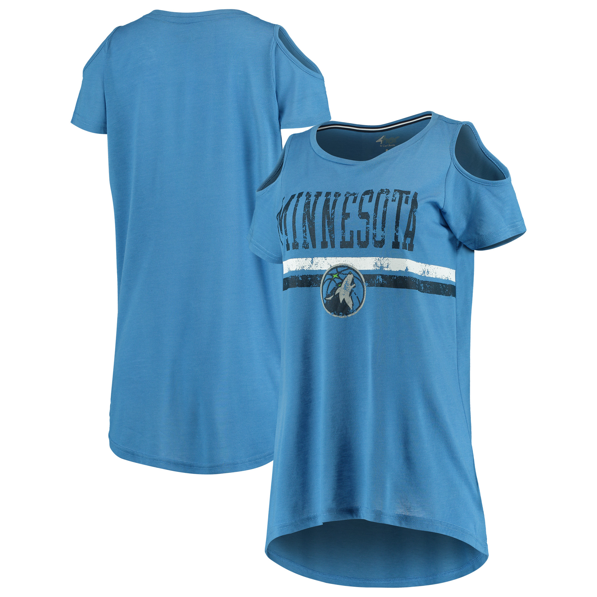 Minnesota Timberwolves G-III 4Her by Carl Banks Women's Nothing but Net Cold Shoulder Scoop Neck T-Shirt - Blue