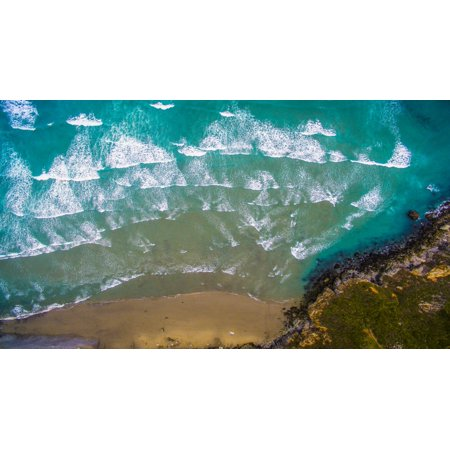 Aerial view of ocean waves on beach Big Sur California USA Poster Print by Panoramic