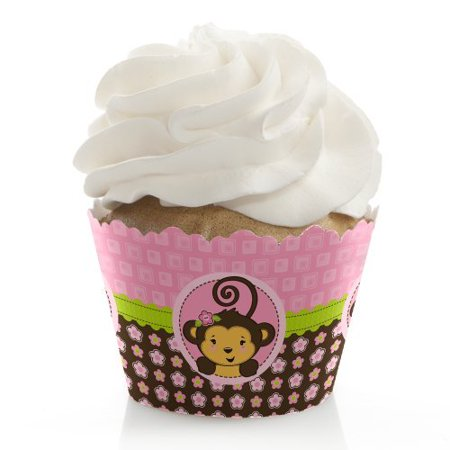 Monkey Girl - Baby Shower or Birthday Party Cupcake Wrappers - Set of 12