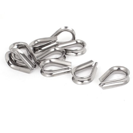 """Stainless Steel 5mm 3/16"""" Standard Wire Rope Cable Thimbles Rigging Tool 10pcs - image 2 of 2"""