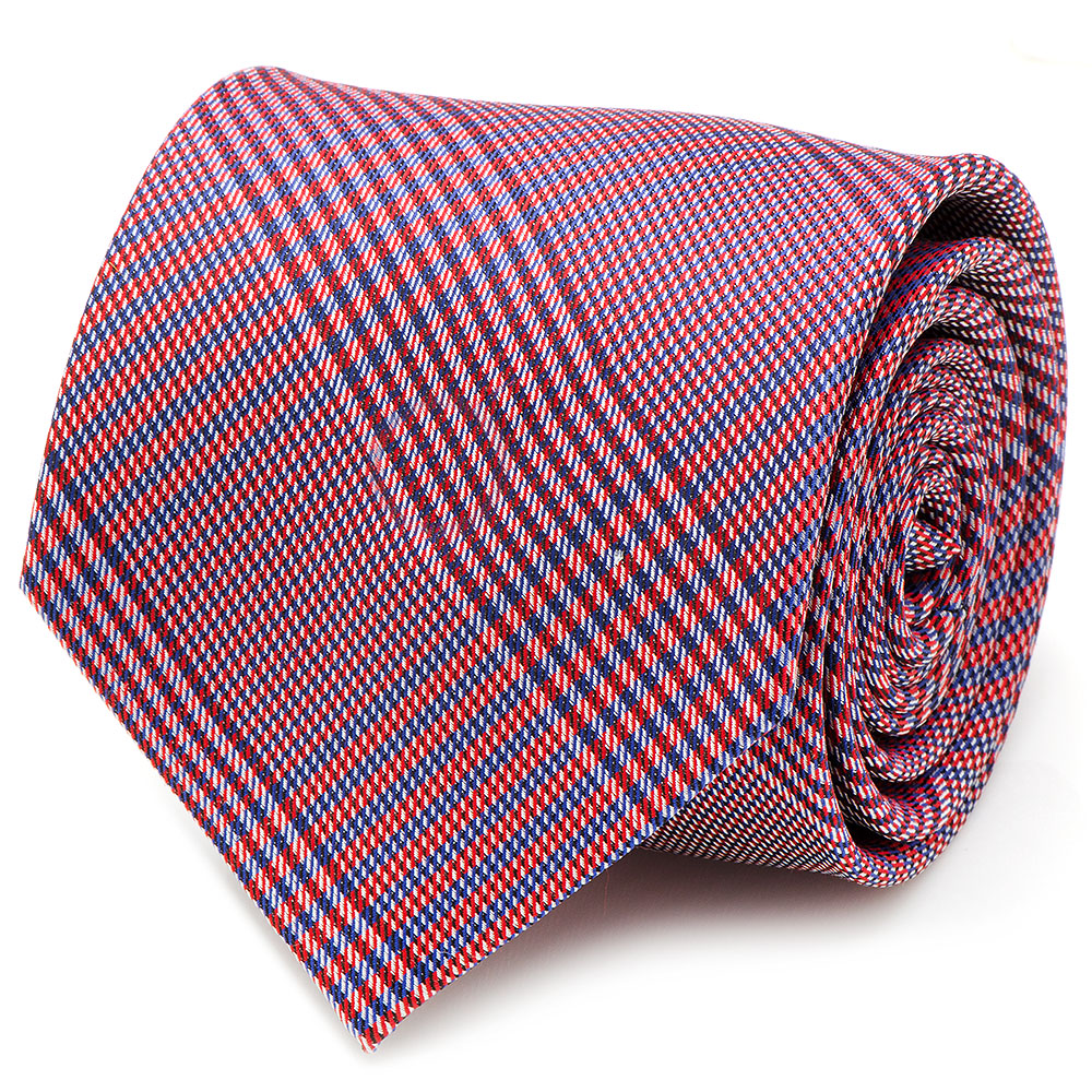Ox and Bull Trading Co Mens Red & Blue Plaid Silk Neck Tie Business Suit Tuxedo