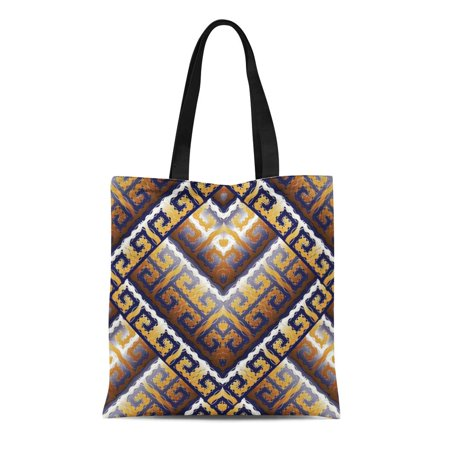 ASHLEIGH Canvas Tote Bag Modern Greek Key Meanders Geometric Ornate Abstract 3D Ornaments Durable Reusable Shopping Shoulder Grocery - Ornate Key