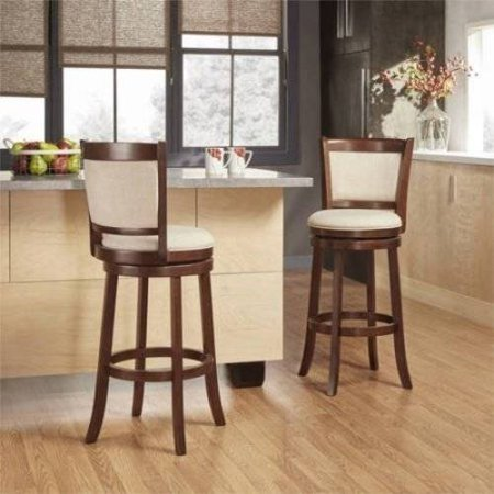 Weston Home Swivel Bar Height Stool, Cherry, Multiple Colors ()