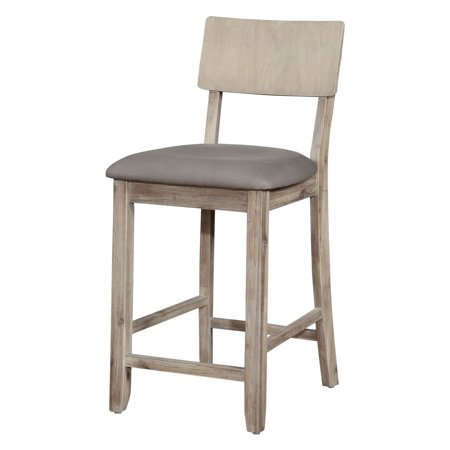 Linon Jordan Counter Stool, Gray Wash, 24 inch Seat Height ()