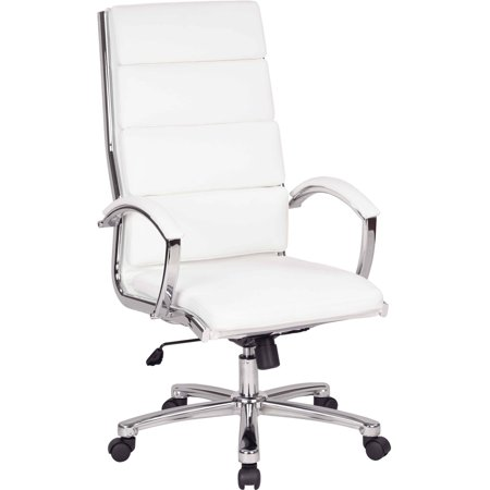 Work Smart High Back Executive White Faux Leather Chair