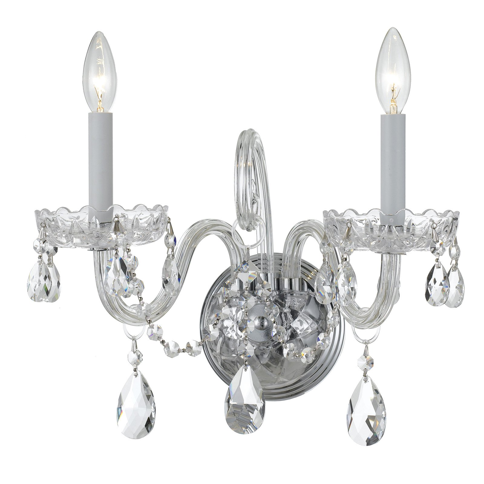 Crystorama 1032-CH-CL-S Traditional Swarovski Elements Crystal Wall Sconce 15W in. by Crystorama