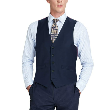 Men's Classic Fit Wool Suit Vest Single Breasted 5 Button Waistcoat Single Button Vest