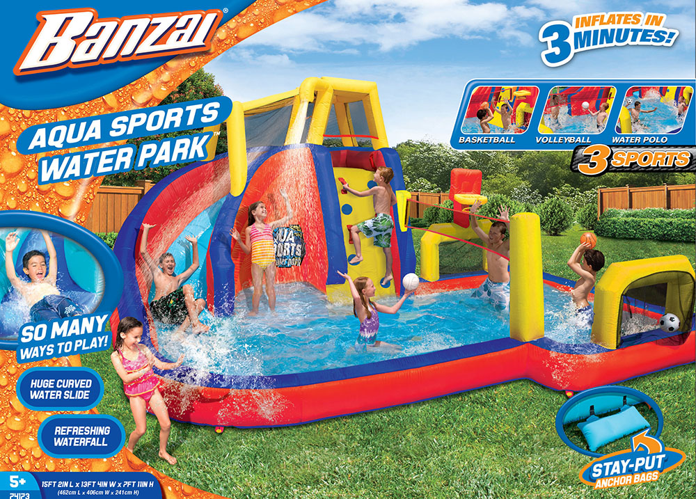 Something is. banzai aqua drench 3 in 1 inflatable splash park your