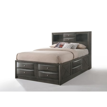 ACME Ireland Storage Bed in Gray Oak, Multiple Sizes