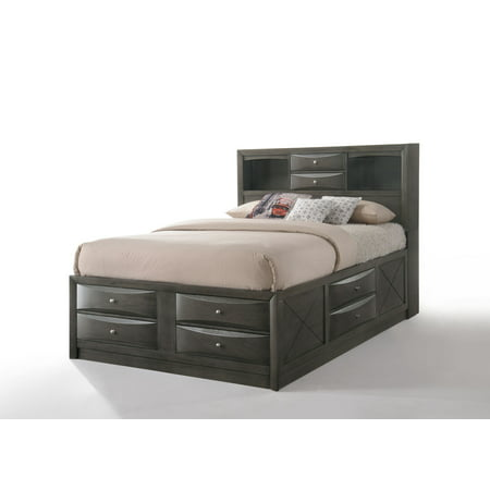 ACME Ireland Storage Bed in Gray Oak, Multiple Sizes Dark Oak Panel Bed