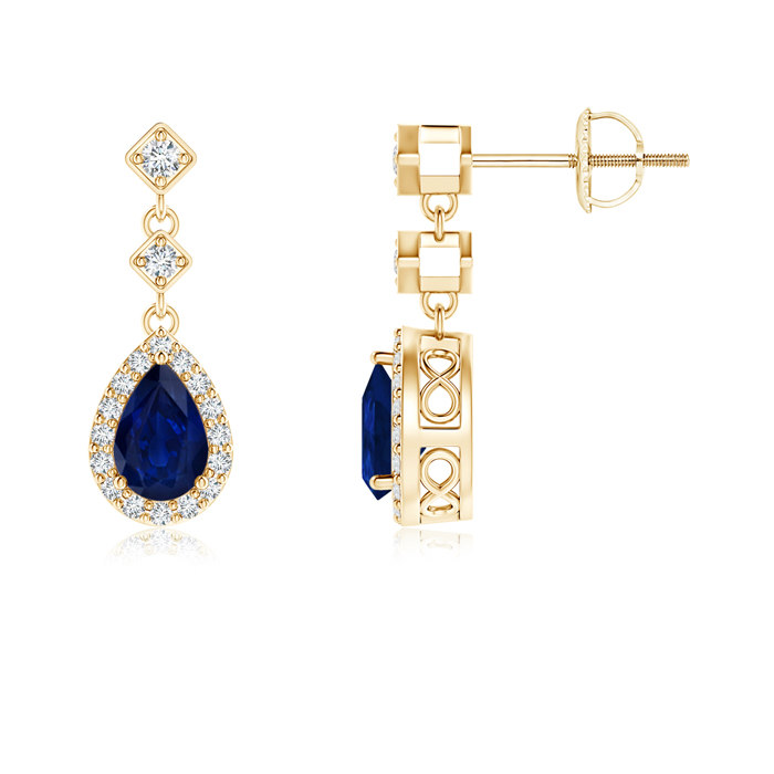 Angara Pear Blue Sapphire and Diamond Halo Earrings in 14k White Gold hBxGP