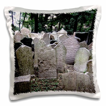 3dRose Gray headstones in cemetery in Prague - grey graveyard grave stones - creepy spooky gothic halloween - Pillow Case, 16 by 16-inch