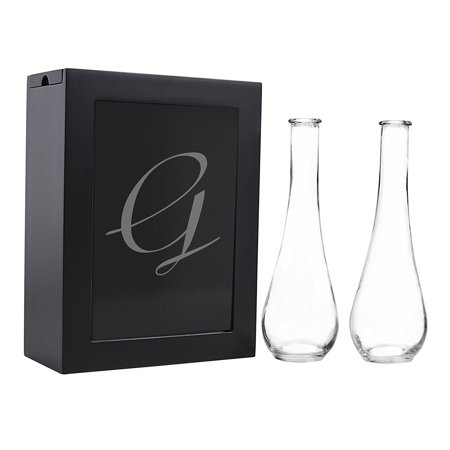 Sand Ceremony Shadow Box Set, Letter G, Black, Set Includes Large shadow box, Custom engraved glass insert, Two pouring vases By Cathy's Concepts It comes to you in New and Fresh state A top trending alternative for the traditional unity candle, the Unity Sand Ceremony Shadow Box Set comes complete with two pouring vases, an easy to open shadow box and personalized glass insert. Sand not included. What you see is what you will get