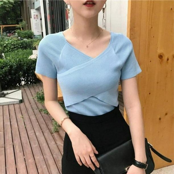 Korean Summer Solid V Neck Short Sleeve Shirt Fashion Women Casual Blouse Top