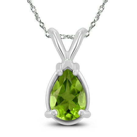 14K White Gold 6x4MM Pear Peridot Pendant