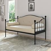 DG Casa Thompson Metal Button Tufted Upholstered Platform Daybed Bed Frame, Twin Size in Black & Beige