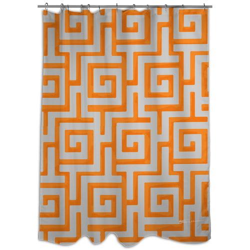 MOD Home Greek Key Orange Shower Curtain