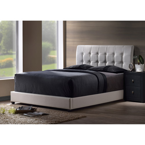 Lusso Faux Leather Queen Bed, White (Box 1 of 2)