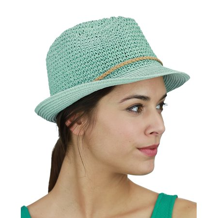 7cf93c43f7d C.C - C.C Braided Faux Suede Band Open Weaved Spring Summer Trilby Fedora  Hat