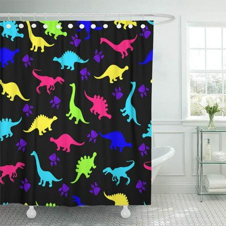 KSADK Cute Kids for Girls and Boys Colorful Dinosaurs On The Abstract Create Fun Cartoon Shower Curtain Bath Curtain 66x72 inch