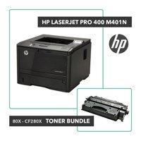 Refurbished HP LaserJet Pro 400 M401n Printer Toner Bundle W/ HP OEM 80X CF280X