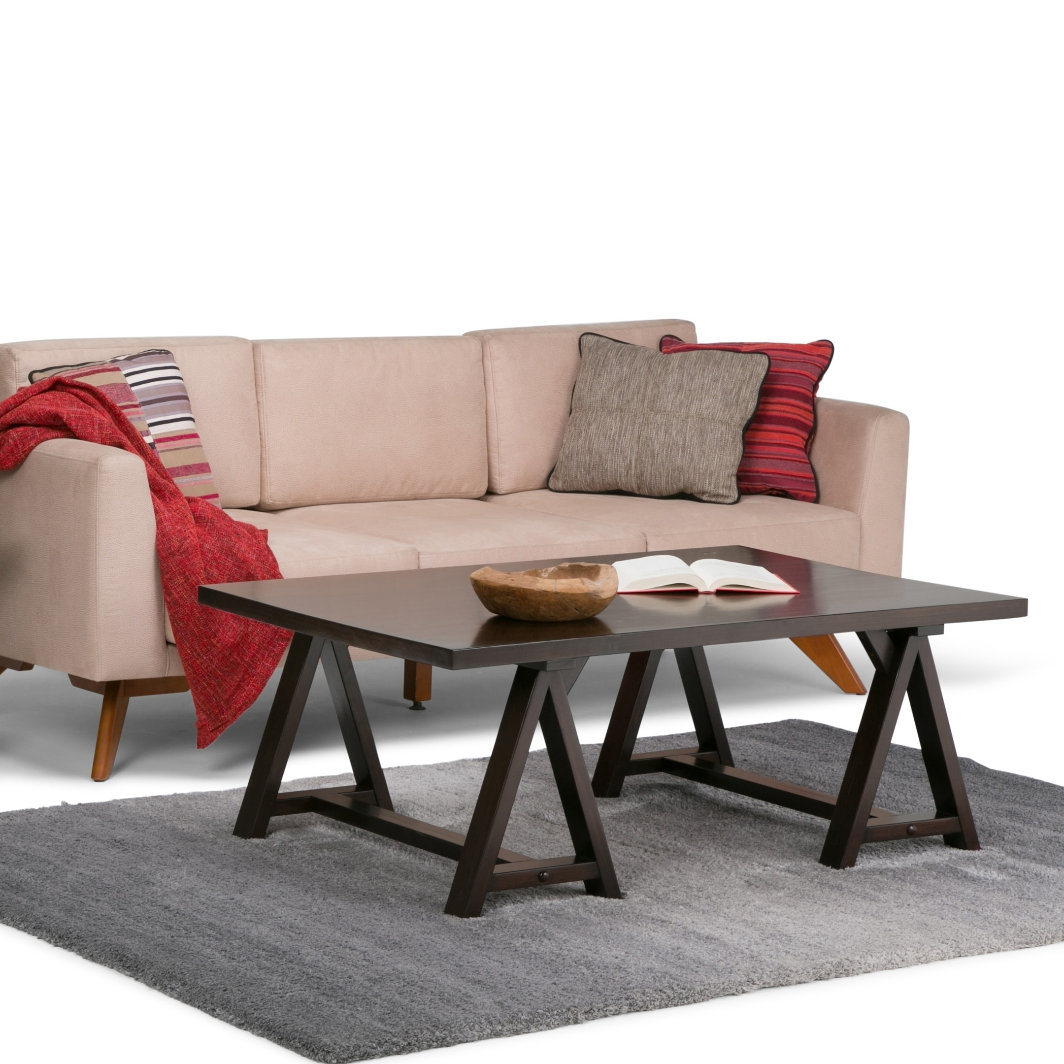 Picture of: Wyndenhall Hawkins Solid Wood 48 Inch Wide Rectangle Industrial Coffee Table 48 W X 32 D X 19 H Chestnut Walmart Com Walmart Com