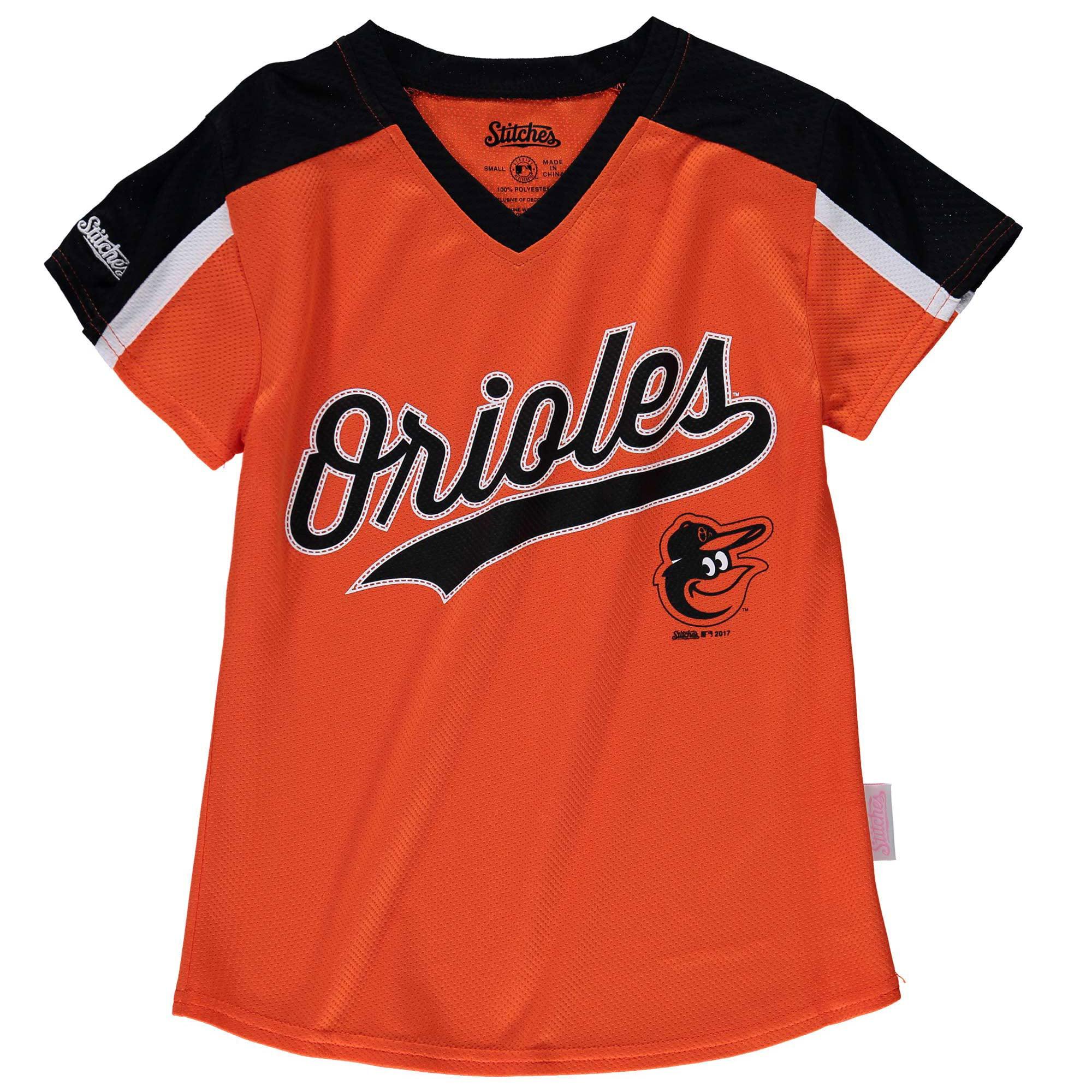 Baltimore Orioles Stitches Girls Youth V-Neck Jersey T-Shirt - Orange/Black