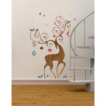 ornamental reindeer peel and stick giant wall decals. Black Bedroom Furniture Sets. Home Design Ideas