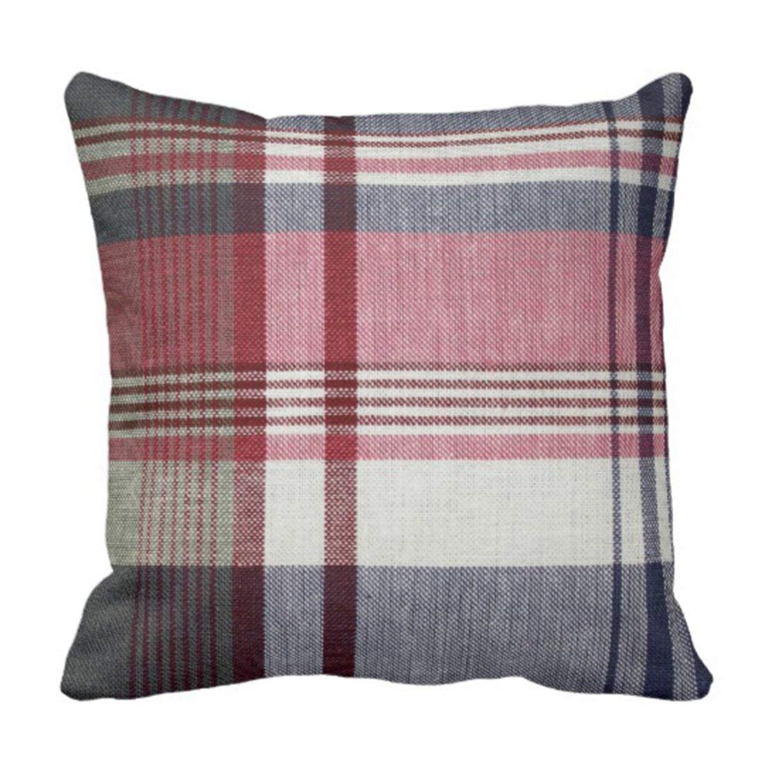 BPBOP Stripes Grey Red Gray Tartan Striped Pillowcase Cushion Cover 18x18 inches