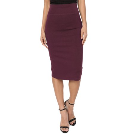 Khaki Pencil Skirt - TheMogan Junior's S~3X Curvy 4 Way Stretchy Ponte Knit Knee Length Midi Pencil Skirt