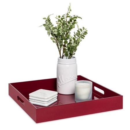 Best Choice Products 16inch Square Glossy Modern Decorative Serving Tray Home Accessory Coffee Table Accent Organizer w/Handles - (Cherry Red Fiberglass Trays)