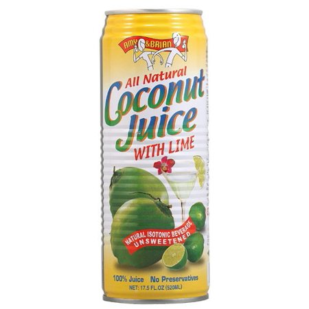 Amy & Brian All Natural Coconut Water With Lime, 17.5 Fl Oz