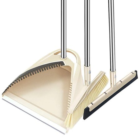 SLC Broom and Dustpan set, 3 Piece Grips Sweep Set with Dust Pan, Floor Squeegee, 48.3