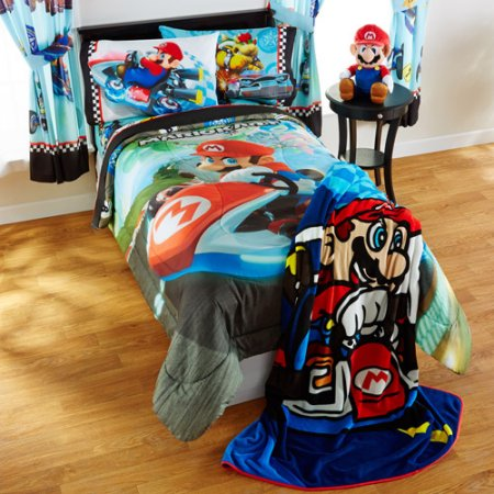 Super Mario Bros Twin Comforter Sheets 4 Piece Kids Bed In A Bag