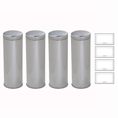 Silver Metal Tea Tin Canister with Metal Interior Seal Lids, for Coffee and Tea Container, For Dried Herbs and Spices, Loose Leaf Tea 8 oz - holds 4 - 6 oz loose leaf tea each (4 pack) + Labels Tea Tin Box