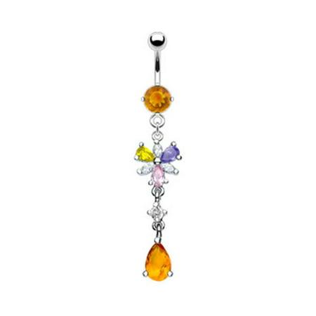 Multi Color Jeweled Flower - Citrine Colored Jeweled Belly Ring With Dangling Multi-Color Flower And Citrine Stone