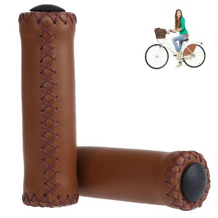 RUNACC 1 Pair PU Leather Bike Grips Lock-on Handlebar Grip Ergonomic Bicycle Handlebar End Grips, Suitable for Most Bikes, Brown